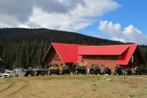 ATVs lined up in front of Grizzly Lodge