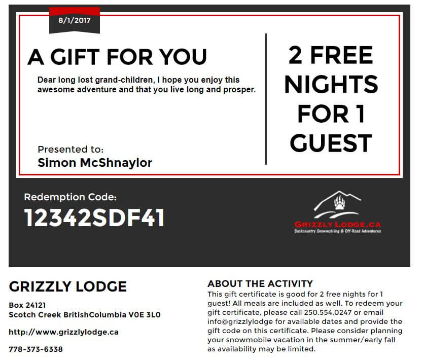 Gifts | Grizzly Lodge, Backcountry Snowmobiling & Off-road